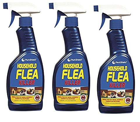 3 x 500 ml Pest Shield Household Flea Killing Spray Ideal For Cat Dog Bed Carpet Kennels Hutches Soft