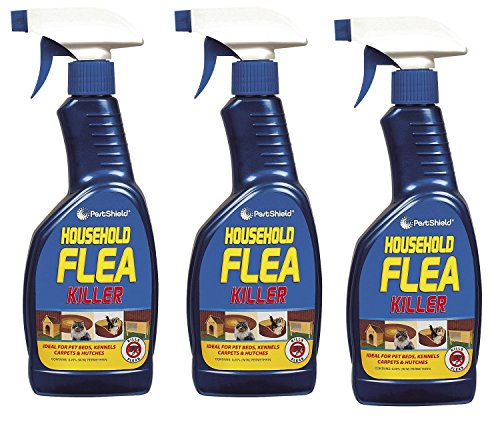 3 x 500 ml Pest Shield Household Flea Killing Spray Ideal For Cat Dog Bed Carpet Kennels Hutches Soft Furniture