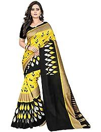 Jaanvi fashion Damen Cocktail Sari Gelb gelb Einheitsgröße