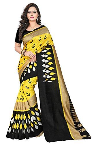 Jaanvi Fashion Women's Bhagaluri Silk iIkkat Patola Printed Saree (Yellow)