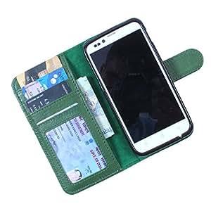 Dooda Genuine Leather Wallet Flip Case For iBall Andi 5S Cobalt3 (GREEN)
