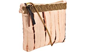 Clean Planet Women's Shibori Clutch with Hand Embroidery (Brown)