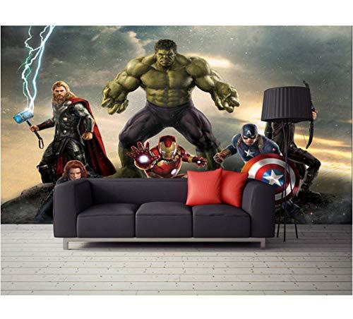 Mbwlkj 3D Wallpaper Fototapete Film Wand Mural Marvel Heroes Jungen Kinder Mädchen Raumdekor Schlafzimmer Coole Dekoration-350cmx245cm -