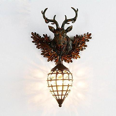 KesiErte Wandleuchter Deer Kopf Lampe Retro Kreativ für Hotel Bar Wohnzimmer Schlafzimmer Korridor Dekoration Harz Geweih Eisen Kristall Halterung Licht