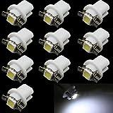 HopeU5® 10 Pack Car T5 B8.5D 5050 1SMD LED luce strumento cruscotto indicatori di direzione laterali (bianco)