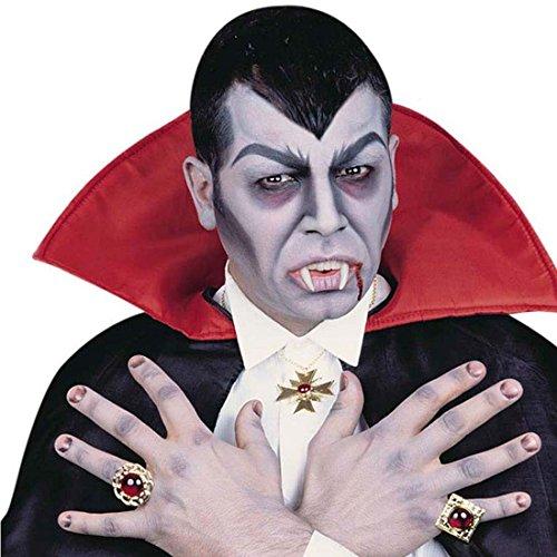Vampir Schmuck Set Dracula Kette und zwei Ringe Gothic Halskette und Fingerschmuck Vampire Schmuckset Halloween Accessoires Vampirkostüm Zubehör