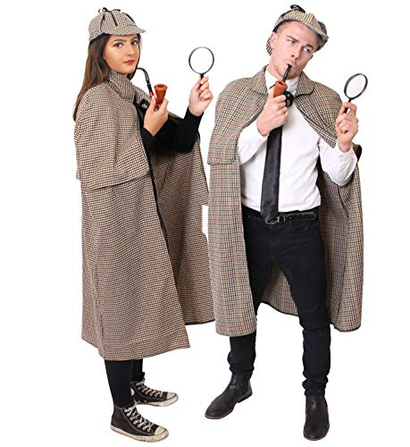 ILOVEFANCYDRESS BERÜHMTER ENGLISCHER Detective =Sherlock Watson =KOSTÜM VERKLEIDUNG =MIT Lupe UND Plastik Pfeife =2 GRÖßEN=Cape /STANDART (Sherlock Hut Holmes Und Pfeife)