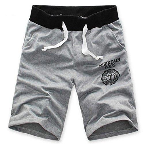 Sannysis Moda Hombre de algodón Pantalones Cortos Gimnasio Sport Jogging Pantalones (Gris, L)