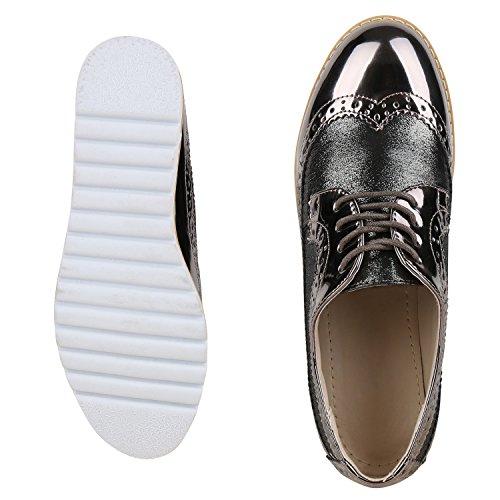 Napoli-fashion - Zapato Con Cordones Mujer Grau Metallic