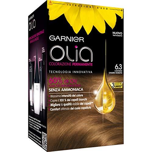 Garnier olia colorazione permanente senza ammoniaca, migliora la qualità dei capelli, copre i capelli bianchi, 6.3 castano chiaro dorato