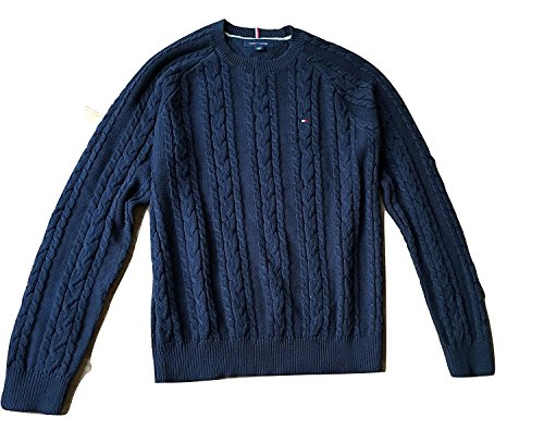 Tommy Hilfiger Pullover, Men's Crew Neck Cable Knit Sweater, Medium (Herren Cable Knit Jumper)