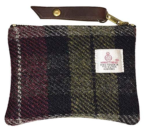 Coin Purse, Gadget Purse, Pouch, Wallet in Loch Ness Red and Black Harris Tweed
