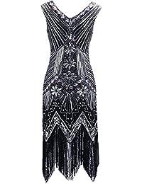 Clothin Robe à paillettes pour femme des années 1920, Gatsby Art Déco/cocktail/ robe avec ourlet à franges