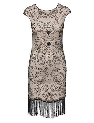 BABEYOND Damen Vintage 1920er Gatsby Kleider Perlen verziert Fransen Flapper Kleid Beige Abbildung 2