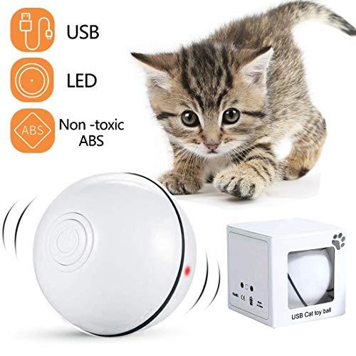 Katzenspielzeug Interaktiv Automatisch Sich Drehender Ball, USB Wiederaufladbares LED Licht Haustier Unterhaltungskugeln für den Innenbereich, Übungsbälle Pet Chaser Spielzeug für Kätzchen (Weiß)