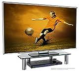RICOO Soporte de Base para TV y Monitor FS6026-B Mueble Mesa de Cristal televisores Colgante Soportes no Inclinable y Giratorio 3D OLED LED LCD Plasma 4K Curvo Universal para televisor Color Negro