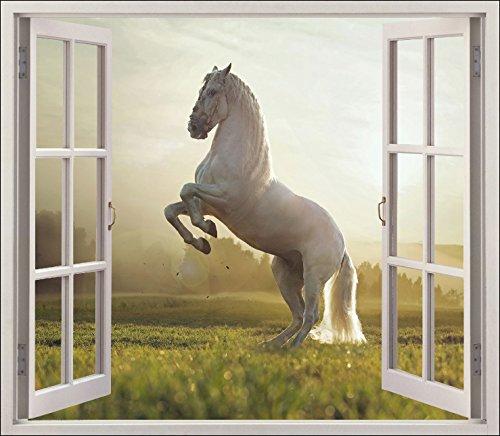 Stickersnews - Sticker fenêtre trompe l oeil Cheval réf 5477 Dimensions - 120x105cm