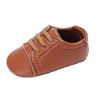 Baby Schuhe Für 0-18 Monate,Auxma Baby Jungen Mädchen PU Leder Schuhe Soft Sohle Prewalker Sneakers (11cm/3-6 M, Braun)