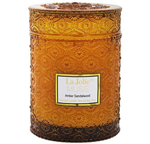 LA JOLIE MUSE Holz Docht Klauenhammer/Latthammer Sandelholz Duft Kerzen Soja Wachs Duftkerze, groß Glas 90Stunden, Geschenk Kerze für Mütter Tag -