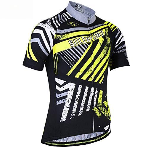 YOUJIADIAN Sportswear Highway Mountainbike Fahrradbekleidung Männer und Frauen Outdoor-Sportarten Laufen Rüstung Reiten Kurzes Oberteil Feuchtigkeit und Schweiß absorbieren,Yellow,L - Reiten-shirt Coolmax