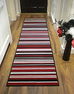 Modern Stripe Rug Red Black Hall Runner 60cm x 220cm produced by FLAIR - quick delivery from UK.
