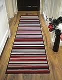 Modern Stripe Rug Red Black Hall Runner 60cm x 220cm