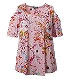 Seeyou Shirt Damen Schulter Ausgeschnitten in Blau und Rosa Blumenmuster V-Ausschnitt Stretch Kurzarm Viskose Elegant Festlich, Farbe:Rosa;Größe:54