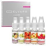 Elvapo Premium Plus E-LIQUID-BOX, Extra starker Geschmack, Erdbeere, Mojito, Pfirsich, Maracuja, Himbeere, 5 x 10 ml