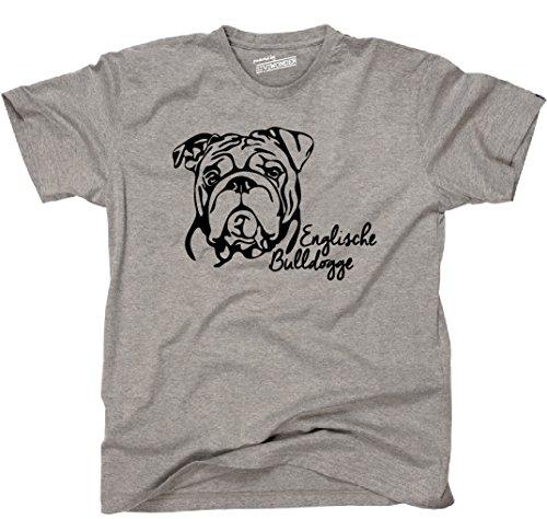 Siviwonder Unisex T-Shirt ENGLISCHE BULLDOGGE Bulldog Portrait Hund Hunde  Wilsigns Sports Grey