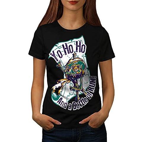 Rum Bottle Fun Pirate Skull Ghost Women NEW Black L T-shirt | Wellcoda