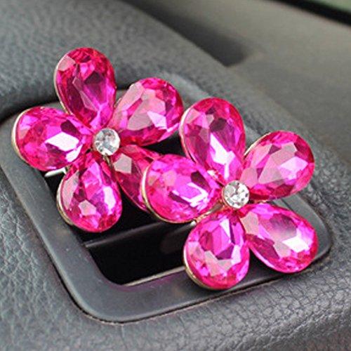 omufipw - Decorazione per auto a forma di fiore, con strass, con clip da fissare all'aria condizionat