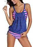 Azue Strip Two Pieces Tankini with Adjustable Shoulder Straps Tummy Contral Swimwear