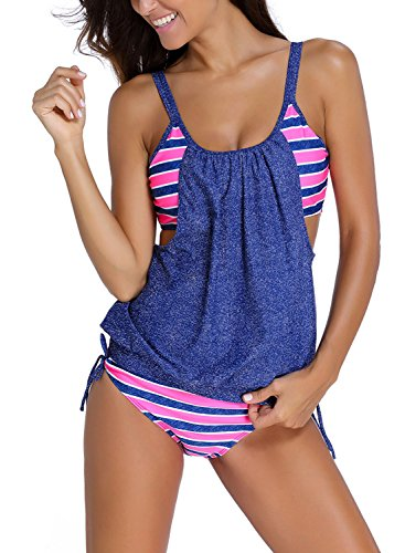 Sportliche Nylon-anzug (Azue Damen Zweiteilig Tankini Bauchweg Badeanzug Sportlich Beachwear mit Bikinislip Blau und Rosa Streifen EU 32-34)