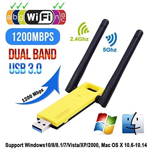 FASD Super Speed   USB 3.0-Netzwerkkarte Dongle 5-GHz-Band 802.11ac WiFi 2.4 Ghz Antennen-Adapter WiFi Wireless Dual 1200Mbps für Laptop/Desktop/PC