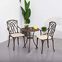 PananaHome 3 Piece Patio Garden Furniture Set with Cushions Cast Aluminium Bistro Table with 2 Armchairs Outdoor