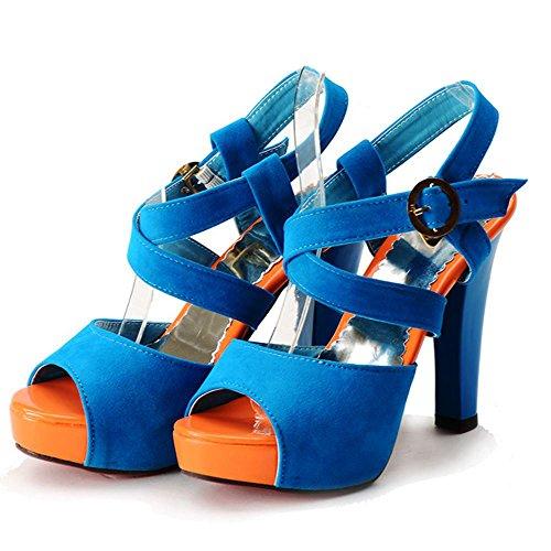 TAOFFEN Femme Mode Plateforme Talon Haut Sandales Sangle De Cheville Boucle Sandales 1030 bleu