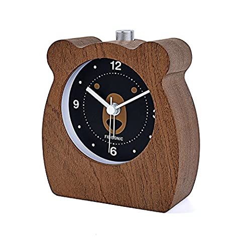 FIBISONIC Kinder Wecker Holz Wecker Tischuhr Kleines Tier Nachtlicht Wecker Analog Wecker Geschenk (Ideen Für Ein Geschenk)