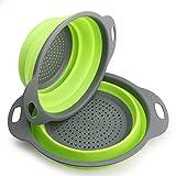 Scolapasta Pieghevole 2 Pezzi Kitchen scolapasta Collapsible Kitchen Colander in Silicone - 29.2 * 23.7cm e 24.6 * 20cm, Approvato FDA (Verde)
