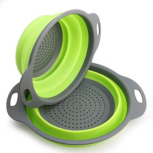 Passoire en Silicone, 2 pièces de filtre en silicone pour légumes ou fruits Pliable Passoire Pliante Comprend 2 tailles 8 et 9,5 pouces panier de filtre(Vert)