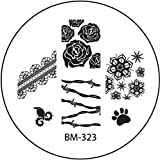 STAMPING-SCHABLONE # BM-323 (BM323) °°Rosen, Stacheldraht, Eiskristall, Schneekristall, Pfote°°
