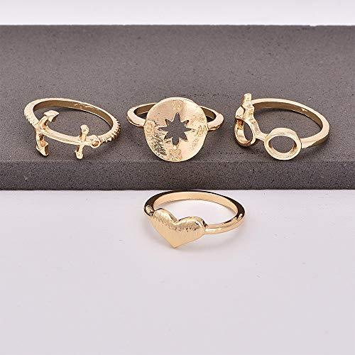 SSLL Ringe für 4 Stück/Set Kompass Anker Sonnenbrille Herzförmigen Goldring Set Damen