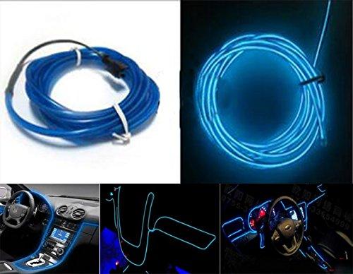 Preisvergleich Produktbild shizak EL Draht KFZ-Innenraum Kontrolle Armaturenbrett LED Glow Neon Light Strip Seil 3m blau mit 12V Konverter Adapter