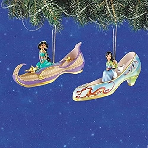 The Bradford Exchange Disney Once Upon A Slipper Ornament Set # 4 Jasmin und Mulan