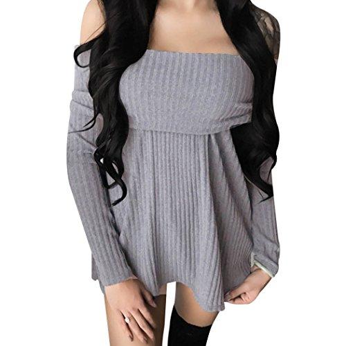 Top Femme Haut Femme Sexy Chic Élégant r t Shirt Manche Longue Femme Épaule Nue Slim et à la Mode Pull-Over Hiver Automne Gris