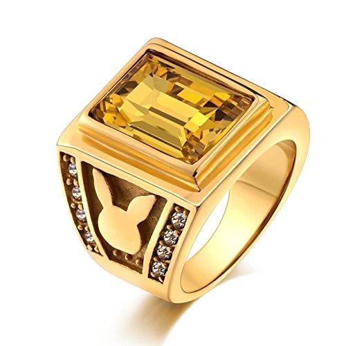 ng für Herren Rechteck Gelb Zirkonia Hasen Freundschaftsring Retro Ring Gold Größe 54 (17.2) (Professionelle Jazz Kostüme)