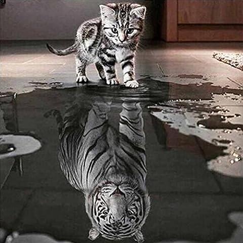 Kingko® Cat's Whisper 5 Panels Katze und Tiger Diamant Stickerei Malerei Kreuzstich Home Decor Handwerk (Farbe)