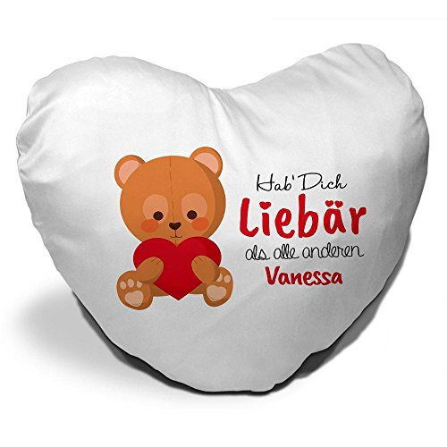 Herzkissen mit Namen Vanessa und süßem Motiv - Bär mit Herz - zum Valentinstag für Verliebte | Herzkissen personalisiert Kuschelkissen Schmusekissen 9