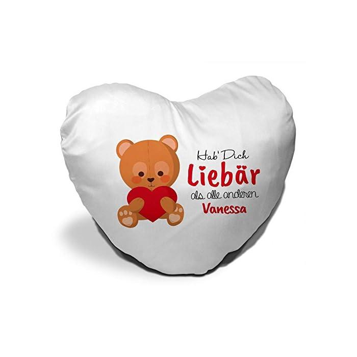 Herzkissen mit Namen Vanessa und süßem Motiv - Bär mit Herz - zum Valentinstag für Verliebte | Herzkissen personalisiert Kuschelkissen Schmusekissen 1