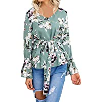 Damen T Shirt,Geili Frauen Damen Mode Blumendruck Langarm V-Ausschnitt T-Shirt OL Hemd Beiläufige Taille Krawatte... preisvergleich bei billige-tabletten.eu