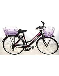 ANGEBOT Geschenk-Fahrrad Violett komplett Damen city-bike 6V Shimano + Tasche und Korb/Qualität 'Italienische
